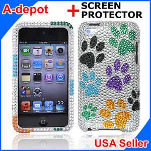 Apple Ipod Touch 4G 4th Gen Dog Paws Bling Hard Case Cover +Screen
