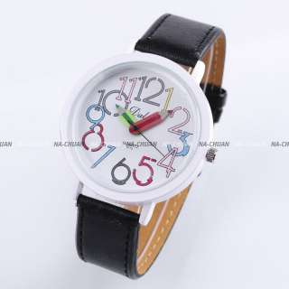 New White Dial Pencil Girl Boy Kid Leather Quartz Watch