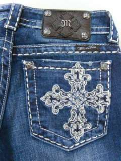 MISS ME Crystals Silver Big Pick Stitch Dark Blue Jeans