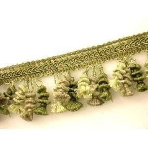 2.25 inch 3 color Green Rotini Tassel Fringe Trim Arts