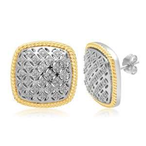 18k Yellow Gold Plated Sterling Silver Grid Design with Diamond Accent