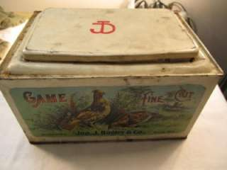 Large GAME FINE CUT Antique Tobacco Tin ~ Store Display Bin