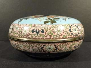 Antique CLOISONNE Bowl Japan Japanese Roosters Flowers Birds   Great