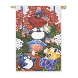 Patriotic Portly Birds Regular Flag: Patio, Lawn & Garden
