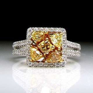 18K 2 Tone Gold 1.02 Fancy Yellow Diamond Cluster Ring