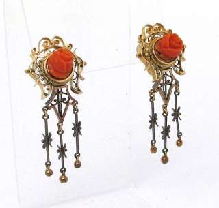 VICTORIAN 14K GOLD & HAND CARVED CORAL EARRINGS PIN SET