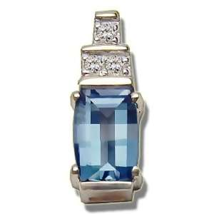 .045 ct 7X5 Barrelcut Blue Topaz Pendant Jewelry