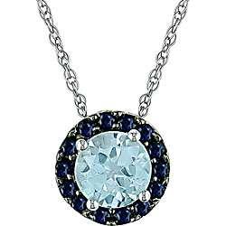 10k White Gold Sapphire and Blue Topaz Pendant