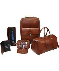 Brown Leather 5 piece Luggage Set