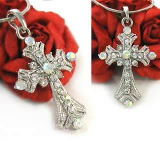 Adorable Clear Rhinestone Cross Pendant Necklace n337