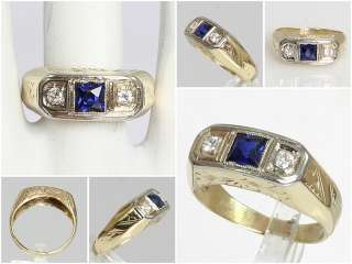 White Gold Princess Cut Sapphire & Diamond Antique Estate Ring