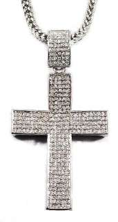 ICED OUT W/GOLD CZ CROSS PENDANT W/36 FRANCO CHAIN