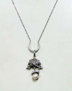 vintage Platinum white gold diamond pendant necklace jewelry