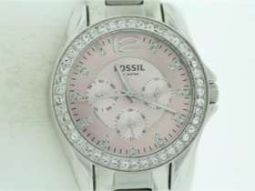 Fossil Stainless Steel Pink Dial Crystal Bezel Accent Watch