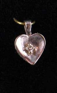VINTAGE 10K W GOLD HEART DIAMOND CHARM PENDANT NCKLACE