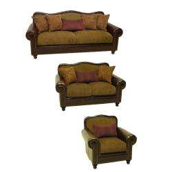 Bronze Faux Leather/ Fabric Sofa, Loveseat and Chair