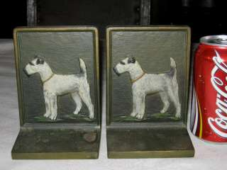 HUBBARD CAST IRON TERRIER DOG ART SCULPTURE STATUE DESK BOOKENDS