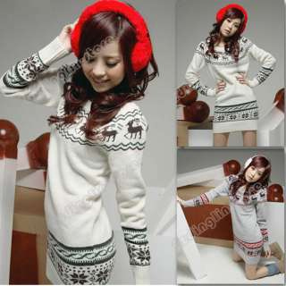 New Womens Long Sleeve Cardigan Snowflake Deer Hip Sweater Coat Knit