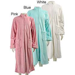 Dream Lover Womens Solid Zip front Long Robe