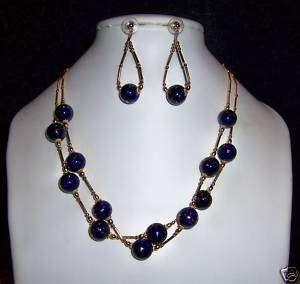 COLBOLT BLUE BEADS & LIQUID GOLD NECKLACE & EARRING SET