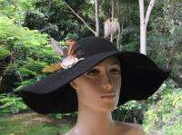 VINTAGE 70S FLOPPY BLACK FELT FEATHER HAT wide brim