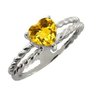 0.72 Ct Heart Shape Yellow Citrine Sterling Silver Ring