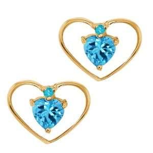 0.67 Ct Heart Shape Swiss Blue Topaz Gemstone 14k Yellow