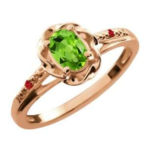 0.52 Ct Oval Green Peridot Red Rhodolite Garnet 18K Rose