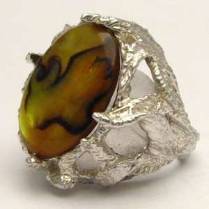 New Gold Paua Shell 18x13mm Solid Sterling Silver Gemstone Ring