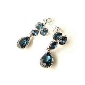 Bollywood Yula Deep Silver Blue Crystal Earring Set