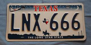 Texas Cowboy License Plate Tag #LNX 666