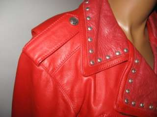 WOW HARLEY DAVIDSON RED LEATHER STUD JACKET SIZE LARGE