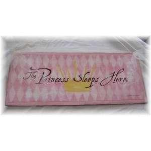 The Princess Sleeps Here Baby Girls Nursery Decor Wall Art Sign