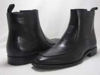 Hugo Boss Mens Massano Black Leather Zipper Casual Fashion Dress Ankle
