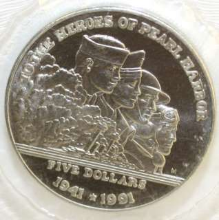 1991 Heroes of Pearl Harbor $5 Marshall Islands