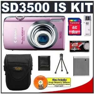 Canon PowerShot SD3500 IS Digital ELPH Camera (Pink) + 8GB Card + Case