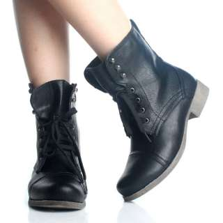 Black Lace Up Ankle Boots Womens Work Combat Motorcycle Hiking Biker