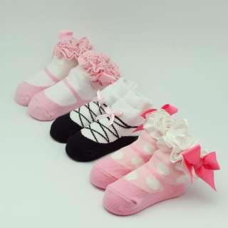 US 3 Pcs New Baby Girls Dance Bow Kids Anti Non Slip Socks Booties