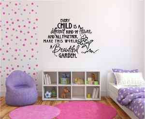 Every Child Is A Different Kind Flower Child Room Vinyl Wall Decor