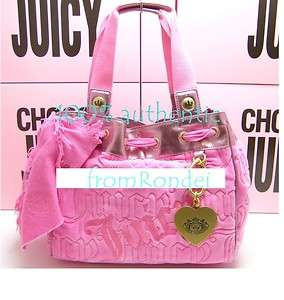 Juicy Couture Pink Velour quilted Charming heart charm Daydreamer Bag