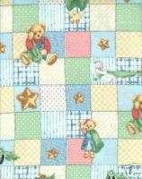 Cute new baby crib sheet Blue Jean Teddy Bear Blossom