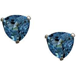 10k White Gold Trillion cut Blue Topaz Stud Earrings