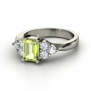 Apex Ring, Emerald Cut Peridot Sterling Silver Ring with
