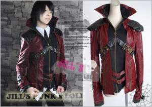 Gothic punk rave Knight Stand up Collar Leather jacket