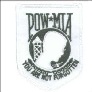 POW MIA NOT FORGOTTEN WHITE Military Vet Veteran Patch