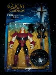 QUEST FOR CAMELOT RUBER WITH ARMOR CRUSHING BATTLE MACE, HELMET