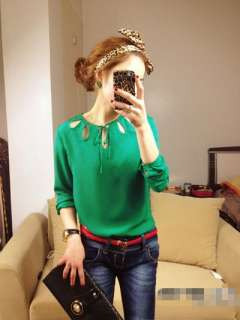 2012 Sexy Neck Detail Tenderly Women Tops Blouses Shirts S M L 3 Color