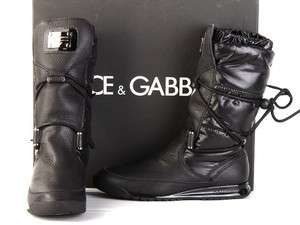 NEW DOLCE & GABBANA BLACK LEATHER WOMENS COLLECTION BOOTS SHOES 35.5