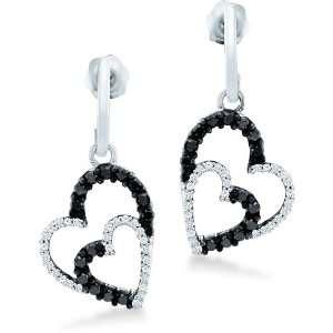 Black and White Round Diamond 10k White Gold Dangle Love Heart Shape