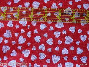 Fabric Traditions Red Valentine glitter hearts novelty cotton 1 yard